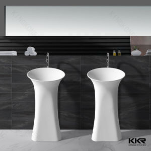 Modern Solid Surface Pedestal Wash Basin for Hotel Project pictures & photos