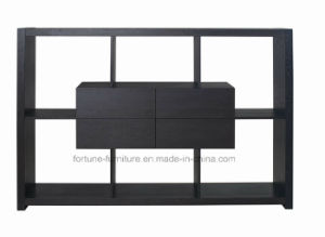 Modern Wooden Veneer Laminated Black Display Shelf (P6265wu01)