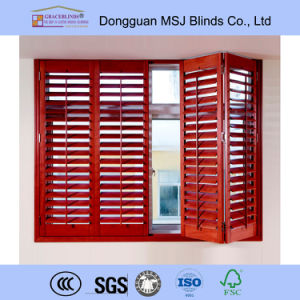 Stain Color T Post L Frame 89mm Louver Real Wood Shutters pictures & photos