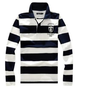 2576923f Navy Blue and White Striped Men′s Long Sleeve Polo Shirt with Custom Logo