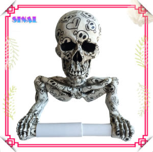 Popular Skull Art, Resin Skull Statue with Tissue Holder