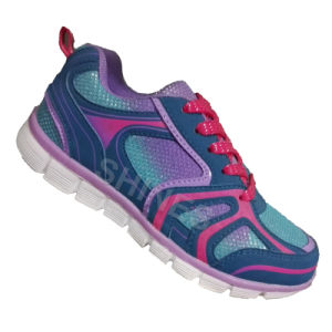 Purple Kids Sport Shoes with Glitter Mesh for Girls