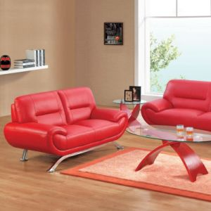 Red Leather Accent Chair Simple Design Sofa for Hotel Bedroom (L061)