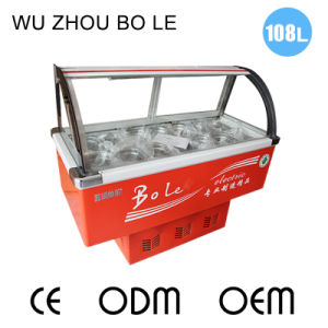 Sliding Door Dipping Cabinet Refrigerator for Ice Cream with Glass Cover
