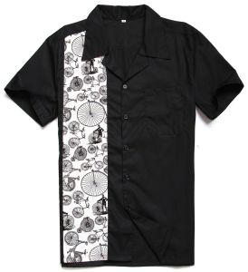 2017 Retro Bike Pattern Printing Bowling Shirt for Men pictures & photos