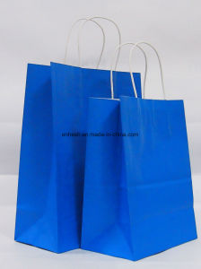 Color Printing Twisted Handle Kraft Paper Gift Bags