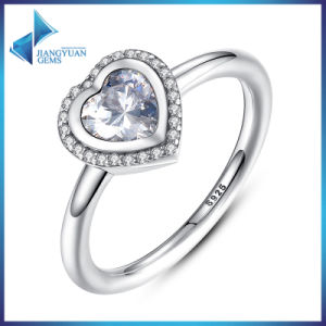 Hot Sell Heart Shape CZ Big Stone Sterling Silver 925 Rings pictures & photos