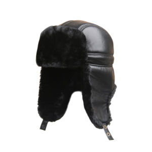 Russian Style Funny Leather Winter Trapper Hat for Men