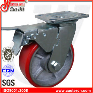 4 Inch to 6 Inch Mold on PU Side Brake Fixed Casters pictures & photos