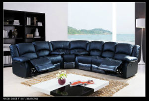 Lazy Boy Sofa Reclining Furniture Round Corner Black Genuien Leather Sofa pictures & photos