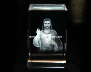 3D Jesus Engraving in Crystal Cube for Christian Souvenir Gift pictures & photos