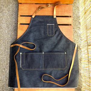 Custom High Quality Denim Work Apron with Leather Strap