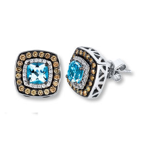Stud Earrings with Blue Topaz 925 Silver Jewelry pictures & photos
