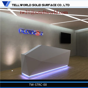 Glowing Solid Surface Reception Area Desk Artificial Marble Stone Reception Desk in Dubai pictures & photos