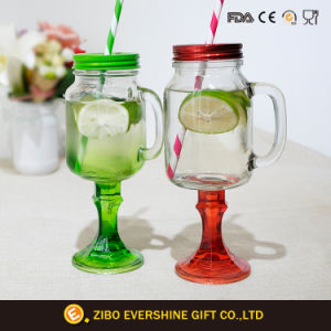 Colored Stem Mason Jar Drinking Glass with Straw Handle