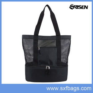 Durable Cotton Mesh Beach Tote Bag with Picnic Cooler Bag pictures & photos