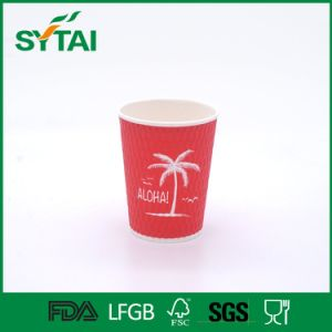 Custom Logo Printed Disposable Double Wall Hot Drink Paper Cups with Lid