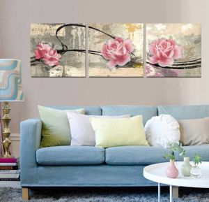 3 Panel Wall Art Oil Painting Pink Flowers Painting Home Decoration Canvas Prints Pictures for Living Room Mc-253 pictures & photos