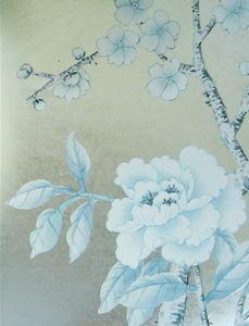Gold Foil Hand Painted Silk Wallpaper