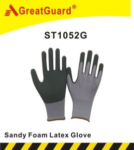 Sandy Foam Latex Glove (ST1052G) pictures & photos