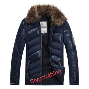 Men Leather Casual Fur Collar Warm Winter Design Waterproof PU Jacket (J-1618) pictures & photos