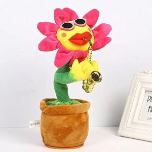 Plush Toy Creative Saxophone Sun Flower Electric Funny Music Dancing  Lighting Simulation Plush Flower Toy for Kids
