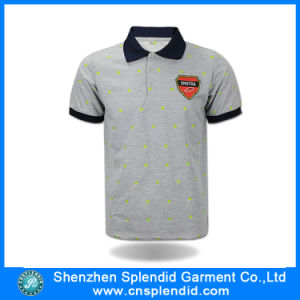 China Wholesale Men Grey Polyester Embroidery Printing Polo Shirt