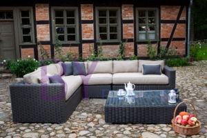 by-468 Luxury Black Garden Sofa Wicker Cheap Garden Sofa Set
