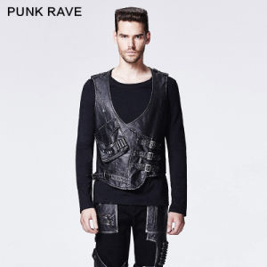 2015 Fancy New Design Punk Man Leather Vest (Y-598/BK-SI)