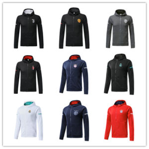 quality design 53570 feeb9 17 18 Real Madrid Hoodie 2018 AC Milan Red Jacket with Caps Ajax 2018 Blue  Hoody Tracksuit Sweater Jogging Suit Survetement Training Suit