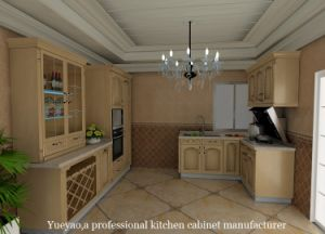Europe Style Oak Solid Wood Kitchen Furniture (W068)