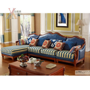 Leather Sofa With Fabric Seat And Wooden Frame (1002)