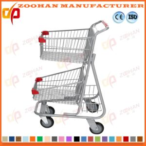 Two Tier Metal Wire Supermarket Handling Shopping Trolley Cart (Zht203) pictures & photos