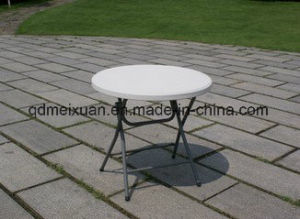 Plastic Folding Table High Outdoor Picnic Table Green Bar Table Stand with a Small Round Table (M-X3779) pictures & photos