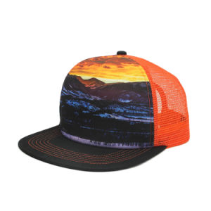 243fba06242f61 China Sublimation Print Flat Bill Snapback Trucker Mesh Hat - China ...