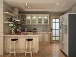 European White Glazed Glass Door Hardwood Kitchen Cabinet