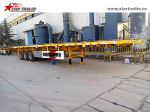 Tri-Axle 40-60ton Cargo Platform Semi Trailer with Container Locks pictures & photos