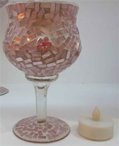 Mosaic Glass Candle Holder (18235)
