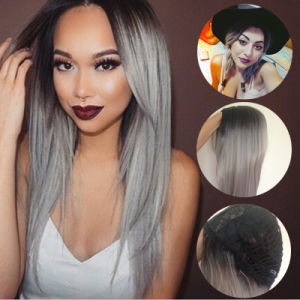 China Ombre Wig Black Gray White Mix Color Afrian Women Short Synthetic Wig  Two Tone Colored Light Grey Straight Short Bob Cosplay Wig - China Wig a58dc6f24