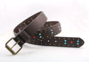 Stud Belt with Agate Decorated Belt Ky5841 pictures & photos