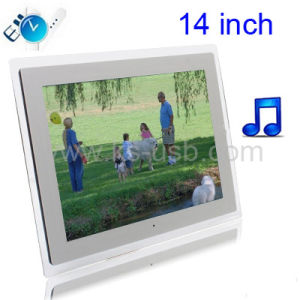 14.0 Inch Digital Picture Frame with Remote Control Support SD / MMC / MS Card and USB , White (1411W) (KPF-5012)