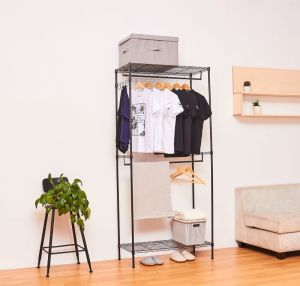 Double Rail Clothing Hanging Shelf Vintage Adjustable Steel Garment Rack with Cover