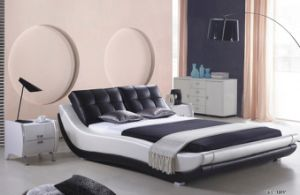 Chinese Bedroom Furniture Waved Shape Leather Queen Size Bed