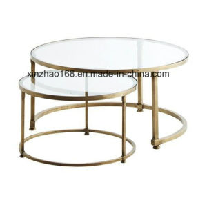 China Modern Round Tempered Glass Coffee Table With Stainless