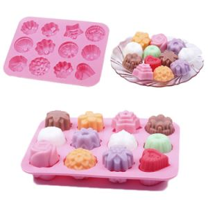 12 Pieces Pudding Chocolate Cake Jelly Mold Silicone Baking Bakeware Moulds