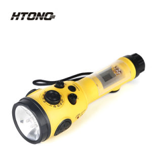 Rechargeable Battery Pack LED Emergency Flashlight with FM Am Radio pictures & photos