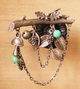 Retro Trunk Brooch with Mushroom, Leaf and Bell Fashion Jewelry
