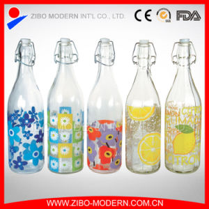 Wholesale Clear Decorative Glass Water Bottle with Top Clips 1000ml pictures & photos