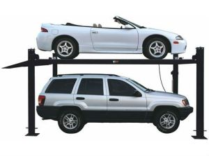 Ce Movable Four Post Hydraulic Car Parking Lift with Wheels and Jack