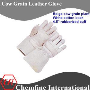 "Beige Cow Grain Palm, White Cotton Back, 4.5"" Rubberized Cuff Leather Work Gloves pictures & photos"
